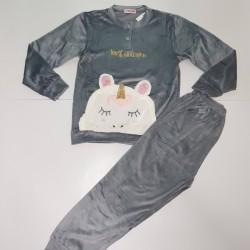 Παιδική βελουτέ πιτζάμα γκρί χρώμα
